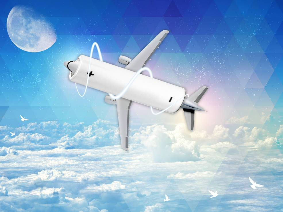 Comercial airplane top view with clipping path.