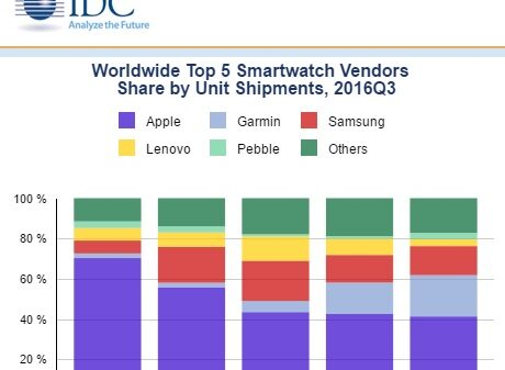 Worldwide Top 5 Smartwatch Vendors Share by Unit Shipments 2016Q3 600