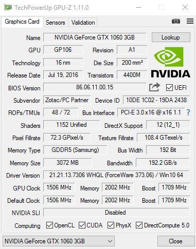 ZOTAC GTX 1060 GPU z