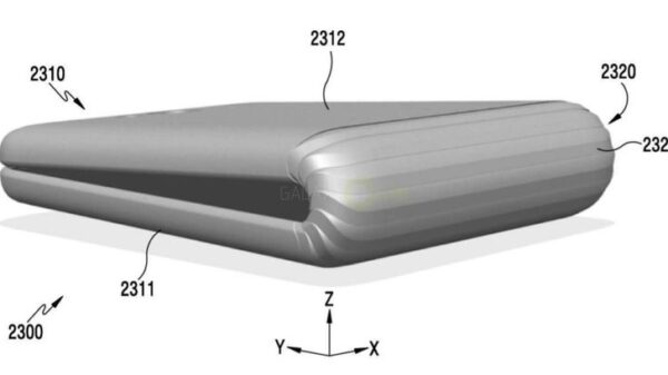 A recent patent application from Samsung shows a smartphone that can fold over itself 600 01