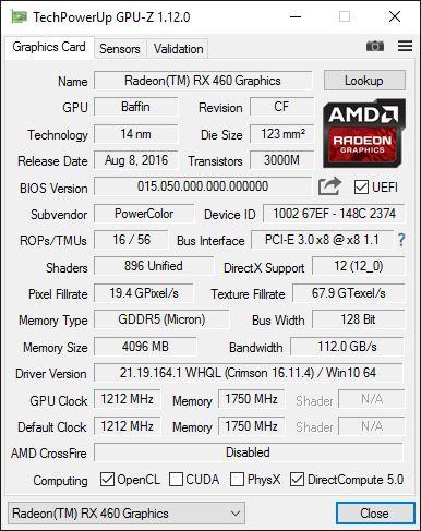 RX460 GPUZ