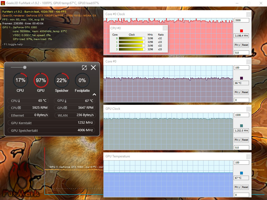 Cooler Boost 4 activated: Only 65 °C CPU and 67 °C GPU temperature � Reduction by 6 °C for CPU and 5 °C for GPU!