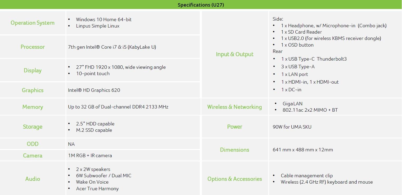 Acer Aspire U27 600 02