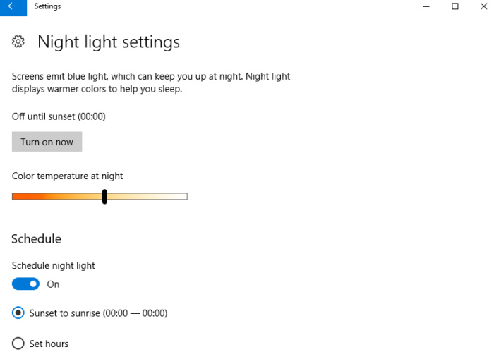 How to use Night Light in the Windows 10 Creators 600 03