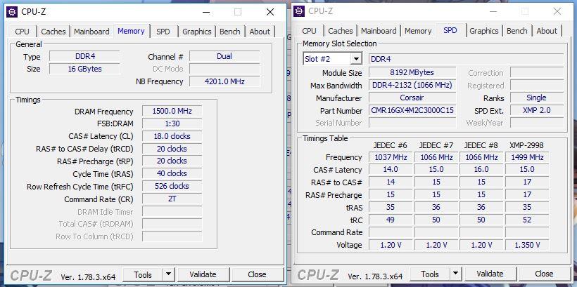 Corsair Vengeance RGB 16GB-3000-cpuz
