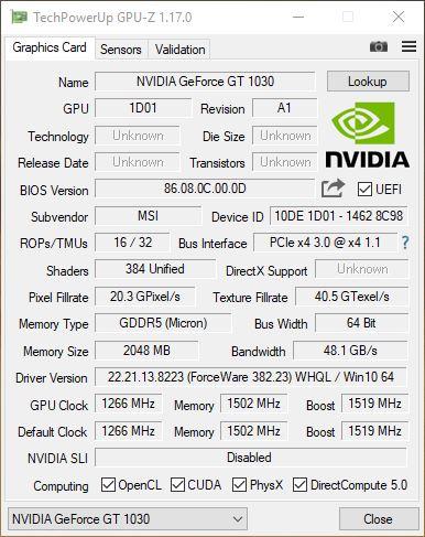 GT1030 GPUz