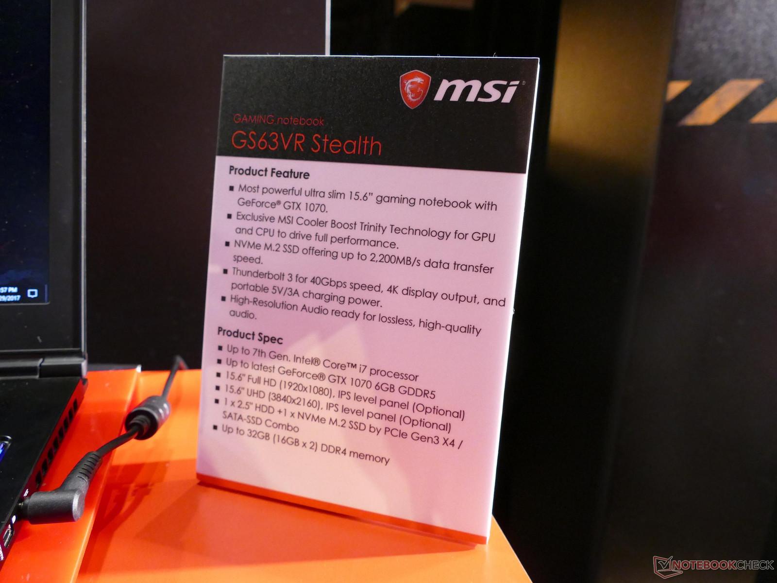 MSI GS63VR Stealth 600 06