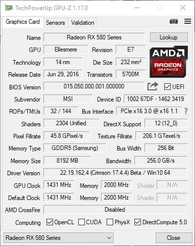MSI RX580 GPUZ1