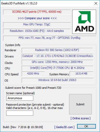 MSI RX580 fermark FHD