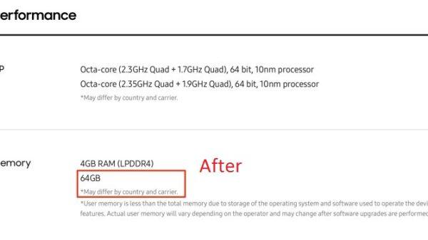 Samsung Galaxy S8 UFS 2.0 Storage Spec List 720x375