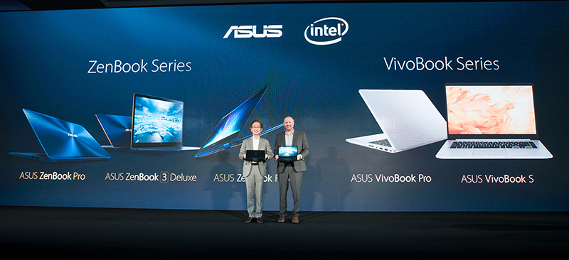 Intel Corporate Vice President Gregory Bryant joins ASUS Chairman Jonney Shih at Computex to celebrate longtime partnership