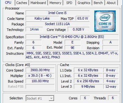 CPU Z i5 8400 1