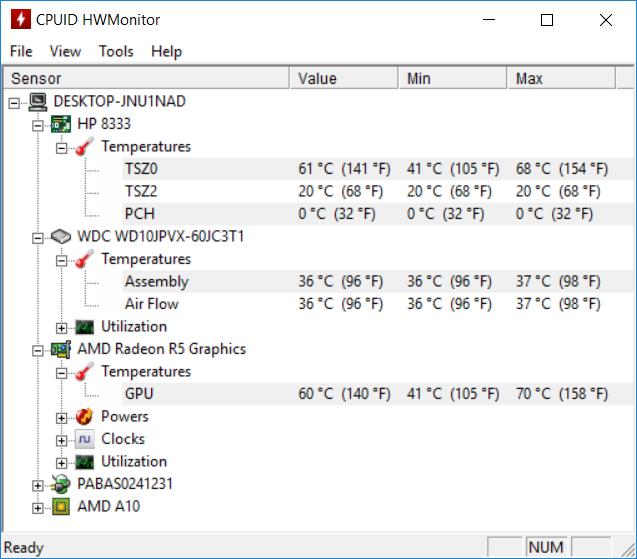 HP 15 bw079AX temp