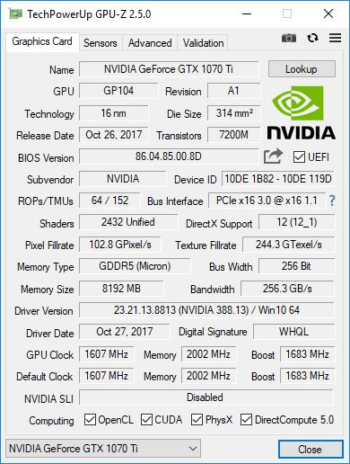 GALAX GTX1070 Ti GPUZ 1