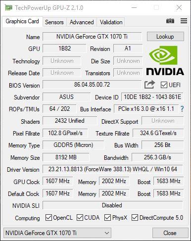 GTX 1070TI GPUZ 1