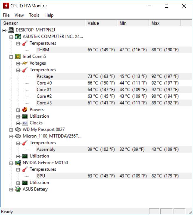 ASUS S410U temp