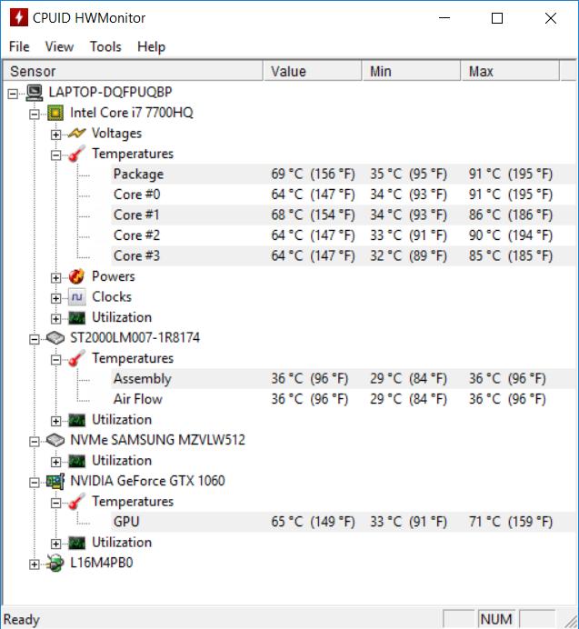 Lenovo Y720 temp