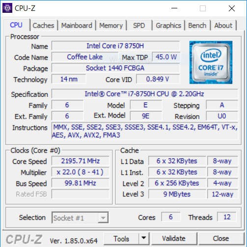 Acer Helios 300 144 Hz CPU1