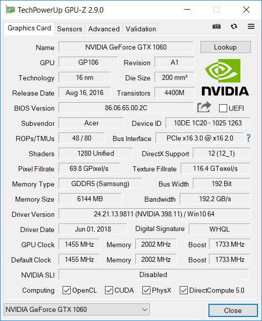 Acer Helios 300 144 Hz GPU1