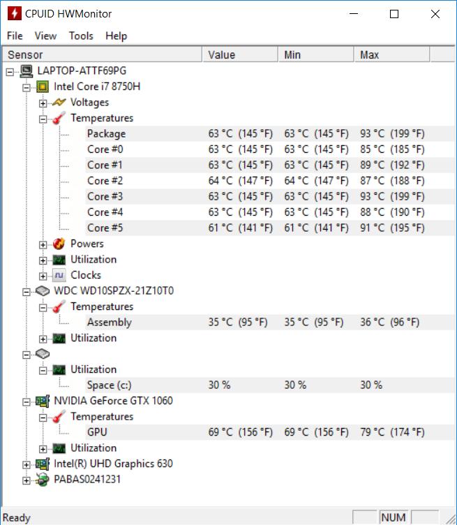 Acer Helios 300 144 Hz temp