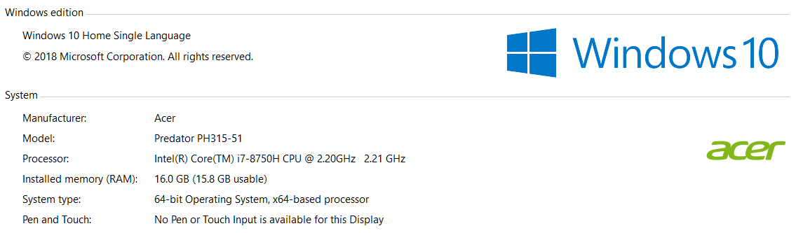 Acer Helios 300 144 Hz win10