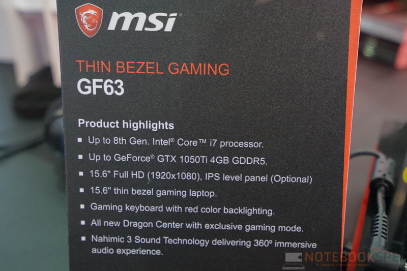 MSI GF63 Gaming Notebook Preview 4