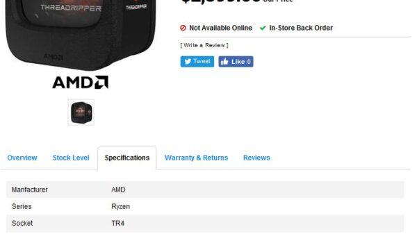 AMD Threadripper 2990X Listed 1835