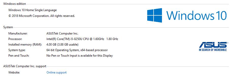 ASUS ZenBook UX410UF win10