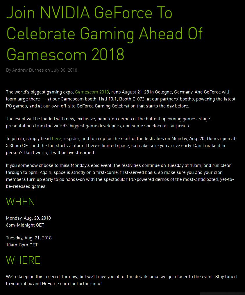 NVIDIA GeForce 11 Gamescom 2018