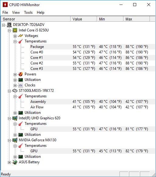 ASUS X510U temp