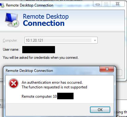 Remote Desktop Authentication Error Has Occurred 2