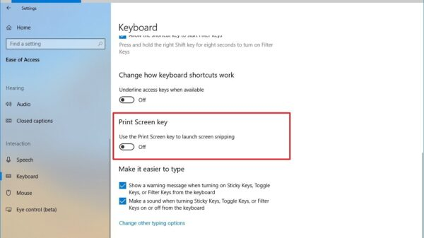 print screen key option windows 10 redstone 5
