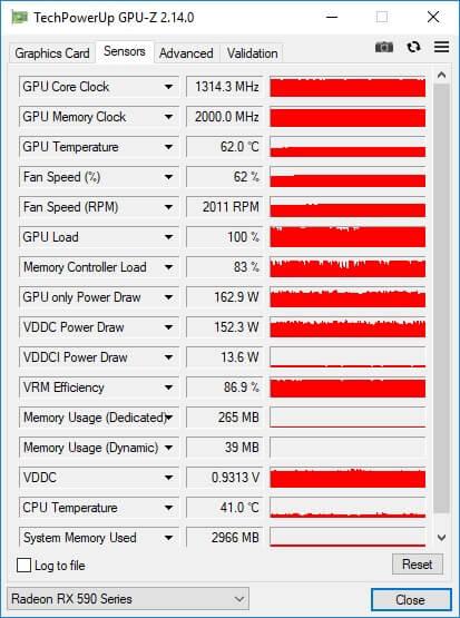 RX590 GPU z 1 full load