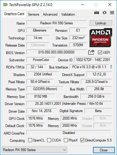 RX590 GPU z