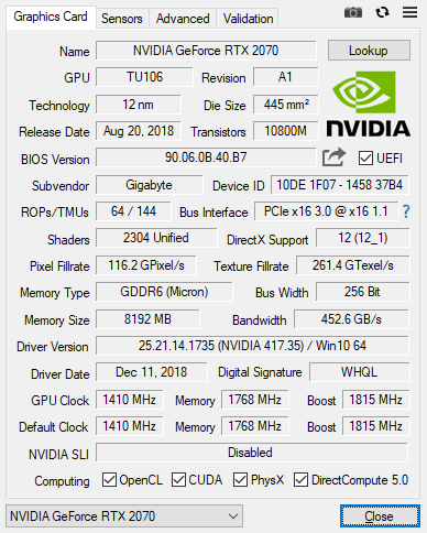 TechPowerUp GPU Z 2.16.0 12 17 2018 7 46 37 AM