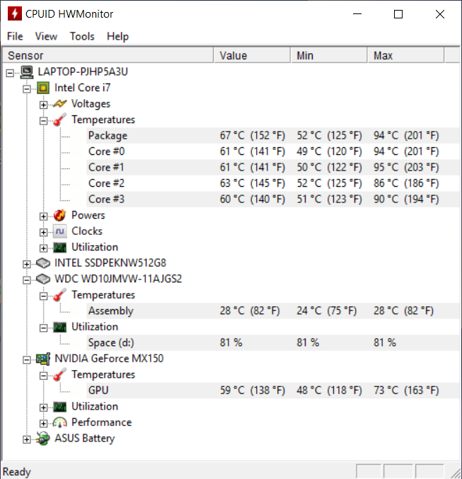 ASUS ZenBook 14 UX433F temp 2