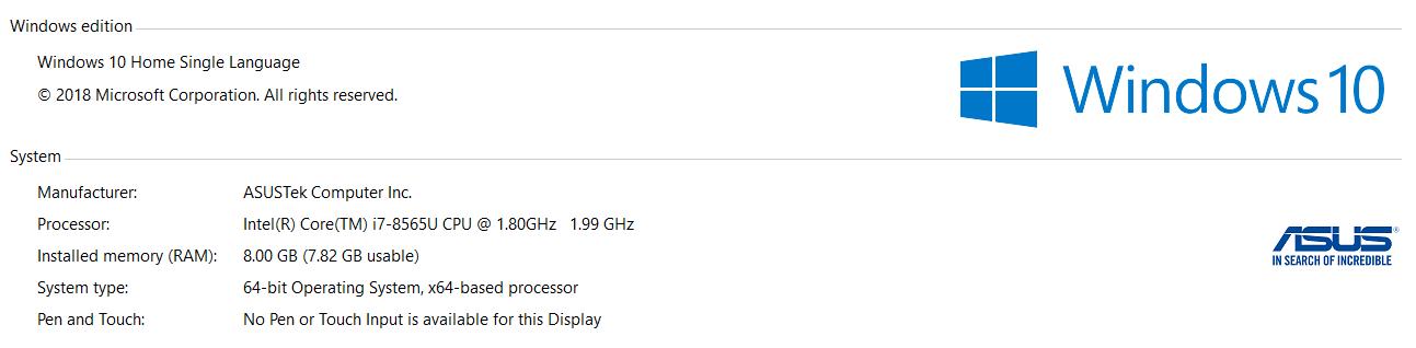 ASUS ZenBook 14 UX433F win