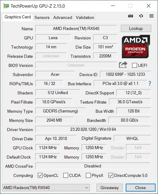 Acer Swift 3 AMD gpu2