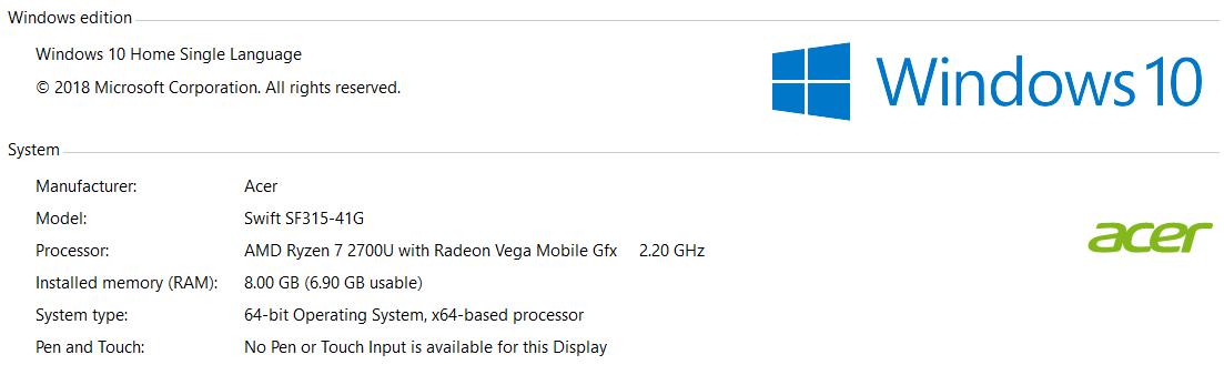 Acer Swift 3 AMD win