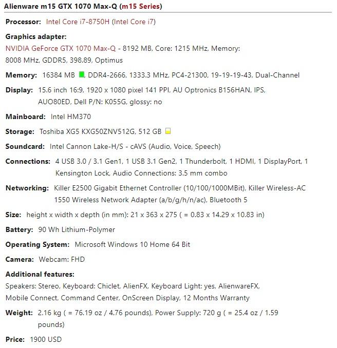Alienware m15 GTX 1070 Max Q spec