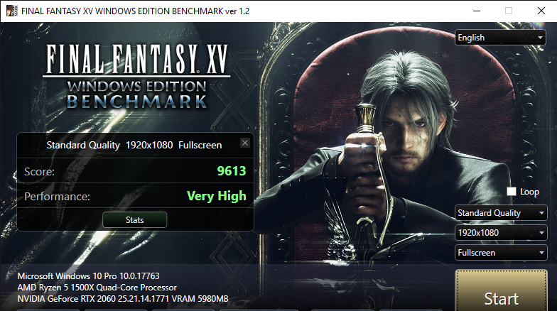 FINAL FANTASY XV WINDOWS EDITION BENCHMARK ver 1.2 2 1 2019 9 11 41 AM