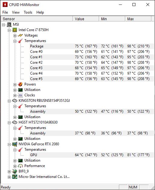 MSI GE75 8SG temp