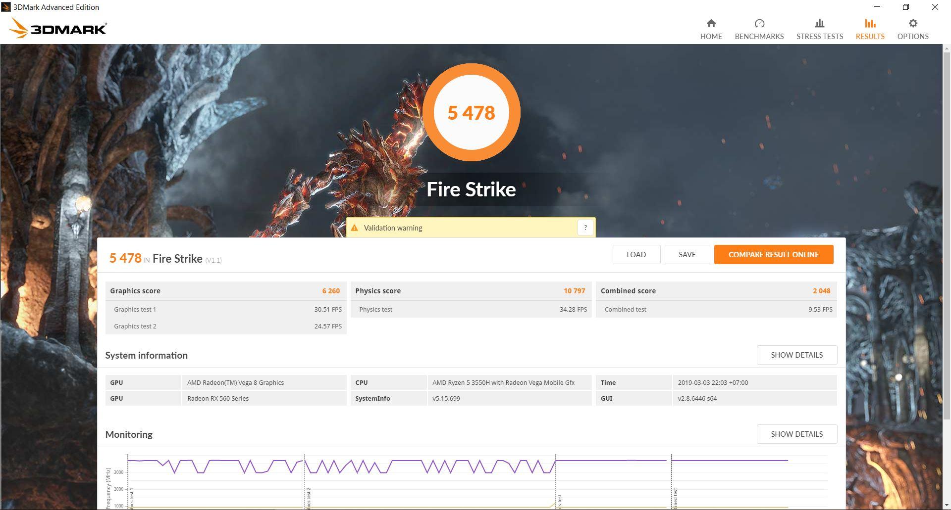 ASUS TUF FX505 DY Fire Strike
