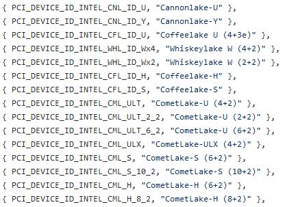 Intel Comet Lake CPUs