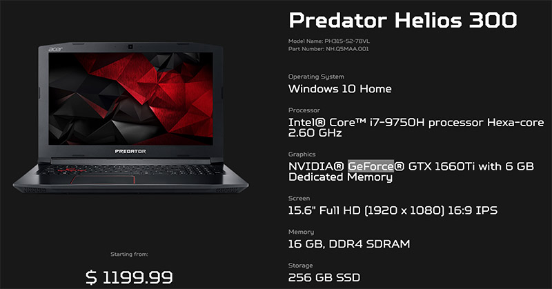 Predator specs PH315 52