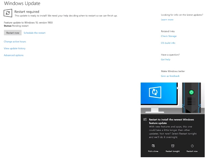 Windows 10 version 1903 feature update pending restart