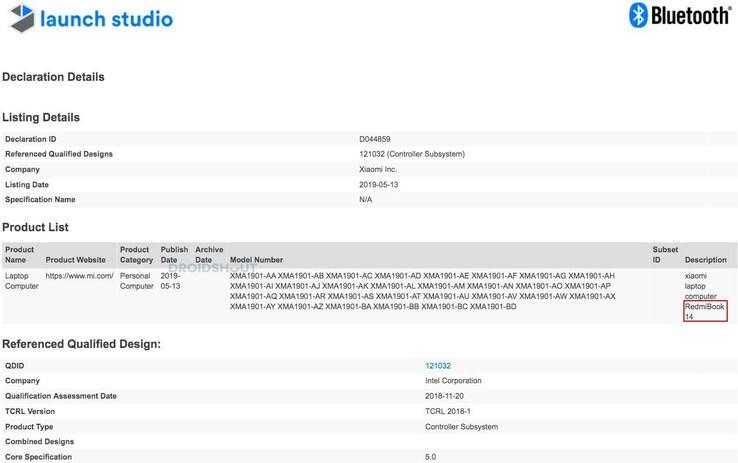 csm RedmiBook 14 Bluetooth Certificate ea797aeae4