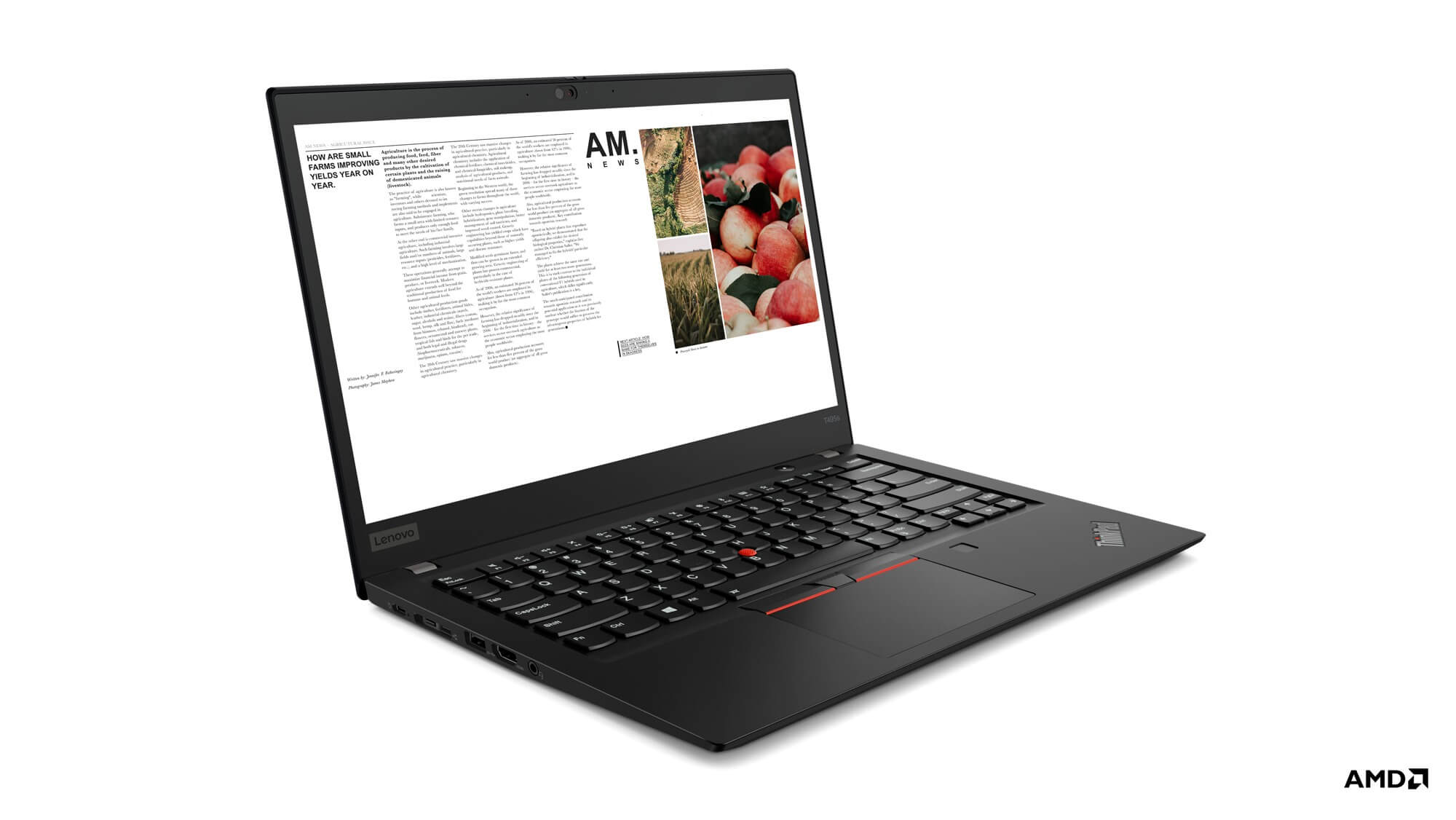Lenovo ThinkPad T495S Closeup AMD