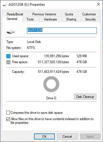 AGI SSD PCIe Gen3 x4 512GB test 1