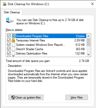 Disk Cleanup for Windows C 9 6 2019 1 23 26 PM